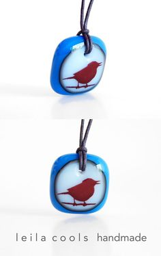 Song Bird Necklace - A sweet bird necklace handmade in kiln-fired art glass by Leila Cools. A colourful way to show your thing for birds and a thoughtful gift for the bird lovers in your life. Handmade Necklaces, Handcrafted Jewelry, Handmade Jewellery, Bird Necklace, Glass Necklace, Bird Jewelry, Animal Jewelry, Handmade Shop, Handmade Gifts