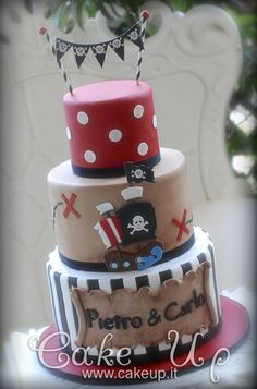 PIRATES CAKE - I like the middle section here. Maybe the bottom blue/water with brown sugar sand with hook and Smee. Peter Pan on top