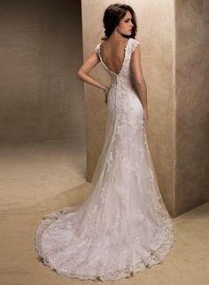 Cap Sleeve Sheath Backless Ivory Popular Design 2013 Crystal Bead Lace Wedding Dress