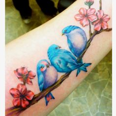 3 little birds tattoo, I just love the one on the left with the pink shading! So cute!!