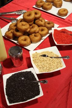Food Bars for weddings & parties - I like the donut bar idea for a kid party!