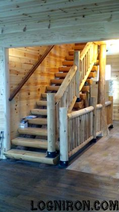 Beautiful Staircase designed & built by Log N Iron. www.logniron.com