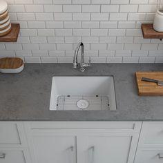 Shop Lexicon Platinum Quartz Composite Kitchen Sink with Large Single Bowl - Overstock - 11606951 - White Composite Kitchen Sinks, Composite Sinks, Undermount Sink Clips, Sink Faucets, Single Bowl Sink, Tuscan Design, Farmhouse Sink Kitchen, Stainless Steel Sinks, White Quartz