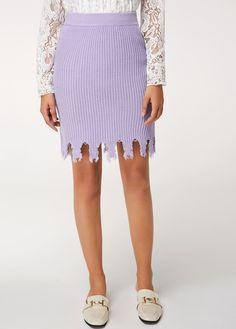 b3371dcbbd2 Asymmetric Hem Light Purple High Waist Knitting Skirt