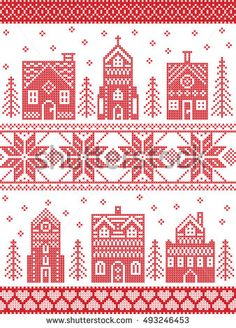 Scandinavian style and Nordic culture inspired Christmas and festive winter village pattern in cross stitch style with gingerbread house, church, little town buildings, trees and snow in red , white