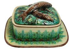 George Jones Majolica Sardine Box on One Kings Lane - $1,199