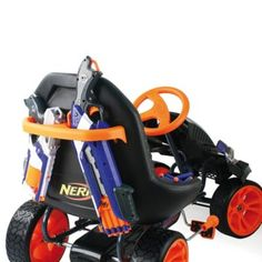 The Hauck Nerf Battle Racer Ride-On Pedal Go-Kart gives children an exhilarating riding experience. Innovative design boasts space for Nerf blasters, brackets and darts. Go Kart, Triumph Motorcycles, Ducati, Scooters, Mopar, Motocross, Lamborghini, Cool Nerf Guns, Nerf Darts