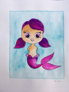 #mermay #sweet #violet #watercolor #art #artist #illustration Watercolor Art, Disney Characters, Fictional Characters, Disney Princess, Sweet, Illustration, Artist, Young Women, Watercolor Painting