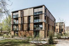 e2a Social Housing Architecture, Architecture Building Design, Parametric Architecture, Wooden Architecture, Building Facade, Concept Architecture, Wooden Facade, Mix Use Building, Residential Complex