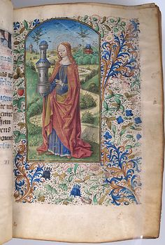 Book of Hours with Saint Barbara Date: ca. 1450 Geography: Made in Paris, France Culture: French Medium: Tempera, ink and gold on parchment; leather binding
