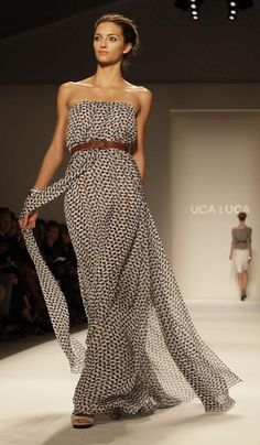 Luca Luca Spring 2011 - black and white strapless maxi dress with brown belt. Perfect for layering in the summer and fall: add a hat, blazer, open cardigan, scarves, layered necklaces etc.