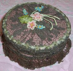 Antique FRENCH Textile Face Powder Box...Lame' by VintageFlowers,