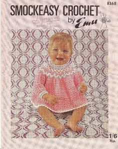 Emu 8368 baby matinee dress  vintage crochet pattern by Ellisadine, £1.00