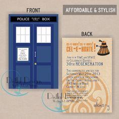 Doctor Who TARDIS , tardis Double Sided Birthday Party Invitation