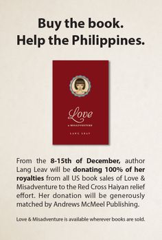 Buy a copy of my book this week to help the The Philippines! Please spread the word! x