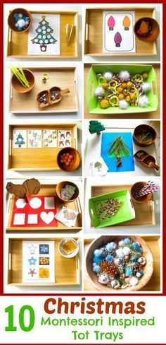 I find some of these to have a little too much work in them but over all great ideas! These Christmas Montessori inspired tot trays include easy to put together activities and tons of free printables. Also, included are simple tot ornaments. Montessori Trays, Montessori Preschool, Montessori Education, Montessori Materials, Toddler Preschool, Preschool Activities, Preschool Schedule, Montessori Bedroom, Baby Education