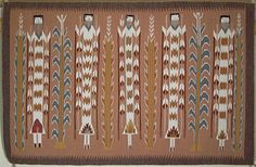 Navajo rug with 5 yeibichei. Native American Rugs, Native American Artwork, Native American Indians, Native Americans, Tribal Trends, Navajo Nation, Navajo Rugs, Museum Shop, Traditional Design