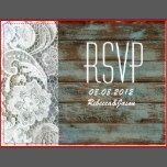 vintage blue barn wood lace country wedding RSVP Postcards | Zazzle
