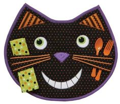 Halloween Place Mat Happy Cat Pattern