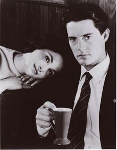 """Sherilyn Fenn and Kyle MacLachlan portray the characters of Audrey Horne and FBI Special Agent Dale Cooper respectively in the tv show """"Twin Peaks""""....."""