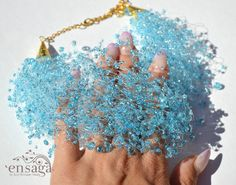 Water necklace Blue jewelry Seed bead bib  Something by ensaga