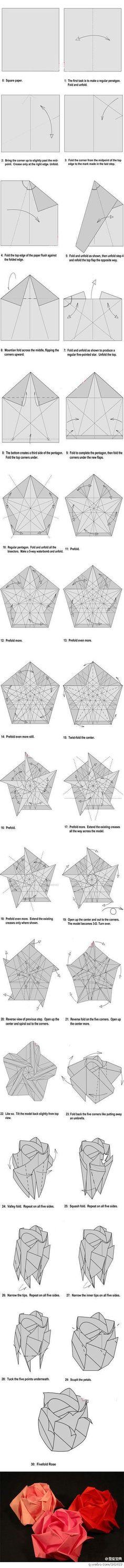 Origami Fivefold Rose