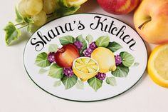 Custom kitchen sign with name, Apple lemons blackberries, Ceramic Kitchen wall decor, Personalized gift for wife, kitchen signs Personalized Housewarming Gifts, Personalized Signs, Beach House Signs, Home Signs, Kitchen Decor Signs, Ceramic Houses, Tile Murals, Address Plaque, Round House
