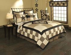 King, Texas Star quilt, matching shams, pillows, valance, and bedskirt all available @ CountryPorchHomeDecor.com