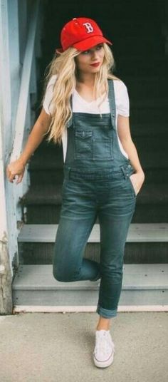Casual denim overalls