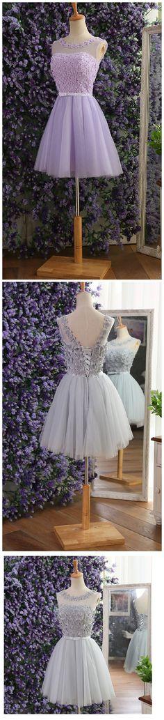 Elegant Gray Prom Dresses,tulle flower beaded Prom Dresses,short