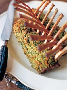 Rack of Lamb with mustard and rosemary