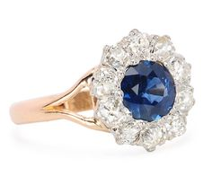 Sapphire Diamond Cluster Ring - The Three Graces