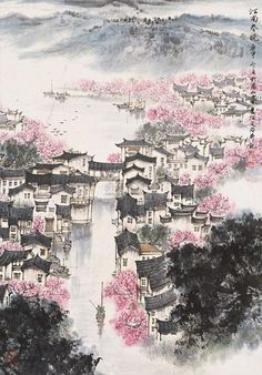 changan-moon: Traditional Chinese painting, 江南春晓 by 宋文治Song. Chinese Landscape Painting, Japanese Painting, Chinese Painting, Landscape Paintings, Chinese Drawings, Art Drawings, Traditional Paintings, Traditional Art, Art Asiatique