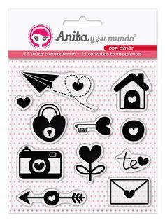 """Pack de 11 sellos transparentes de la Colección """"Con Amor"""" de Anita y su mundo para aplicar con metacrilato.  Fáciles de almacenar y limpiar.  #scrapbook"""