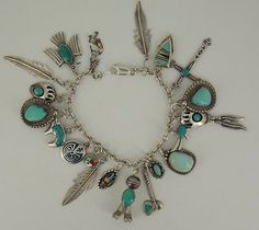 Vintage Native American Dead Pawn Sterling Silver Charm Bracelet 51 7 Grams | eBay