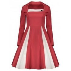17.88$  Buy here - http://viwof.justgood.pw/vig/item.php?t=vdzhxk550398 - Long Sleeve Fit and Flare Vintage Dress