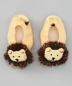 Take a look at this Banana & Brown Lion Crocheted Booties by Best of Chums on #zulily today!