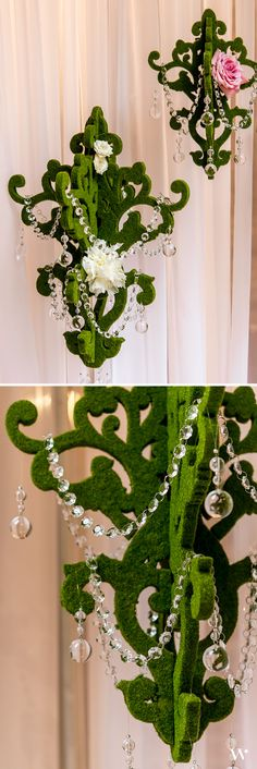 Bring a touch of rustic glamor to your outside wedding décor with these moss inspired chandeliers. Or hang them indoors to create an elegant woodland oasis. Add a glamorous touch with acrylic beaded garland