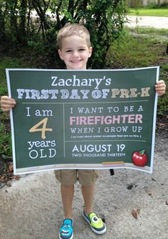 You know those little signs kids hold up on their first day of school? Here's a whole bunch of them-- so now you can embarrass your kids in style!
