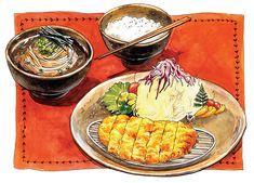 Japanese food illustration: Pork cutlet & buckwheat - Chanmi La