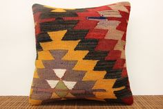 Accent kilim pillow cover 16 x 16 Striped Kilim by kilimwarehouse, $47.00
