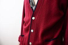 SALE___Vintage 1960s Cardigan Wine Red Wool by ThePenduline