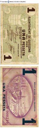 Guissona - 1 pta. : Ajuntament de Guissona, val per una pesseta. Emissió feta segons acord pres per l'Ajuntament en sesió del 2 d'agost de 1937 :: Paper moneda del Pavelló de la República (Universitat de Barcelona)