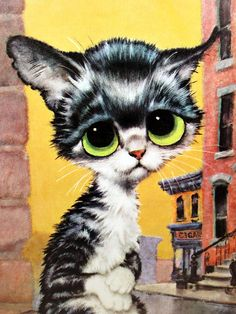 Vintage Gig Keane Cat Big Eyes Pity Kitty Pop Art Poster Print on Cardboard, Antique, Black & White Yellow Eyed Kitten, Alley Cat Puppies And Kitties, Cats And Kittens, Baby Kittens, Kitsch Art, Image Chat, Pop Art Posters, Alley Cat, Vintage Art Prints, Cat Decor