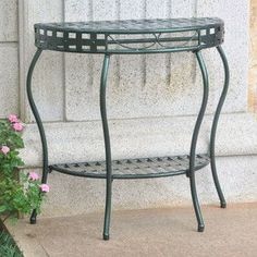 International Caravan Santa Fe Iron Nailhead 2-Tier Half Moon Table in Verdi Green