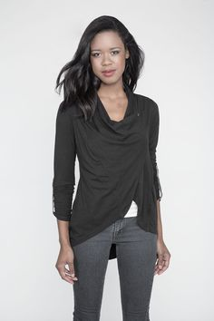 Teavy: Draped Jacket with Metal Button Detailing, $98