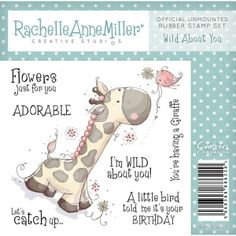 Cute and charming Wild About You rubber stamp. Perfect for use with pens watercolours and inks.