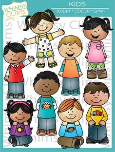 The kids clip art set features 16 various kids in both color and black & white for a total of 32 image files in png and jpg. All images are 300dpi for better scaling and printing.