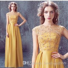 Wholesale New Arrival Hot Sale Fashion Elegant Luxury Princess Host Halter  Yellow Lace Sequins Costum Made Banquet Toast Bride Evening Dress Dress  Stores ... 517ea106969e