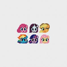 My Little Pony (Pinkie Pie, Rarity, Applejack, Rainbow Dash, Twilight Sparkle, Fluttershy) PDF Cross Stitch Pattern by pixelsinstitches